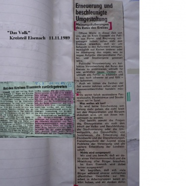 G_Erklärung u. Rücktritt des RdK Eisenach Nov. 1989
