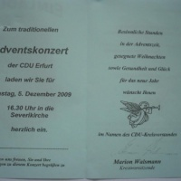 05.12.09 ++  CDU-ADVENTSKONZERT in ERFURT zum 30. Male ++