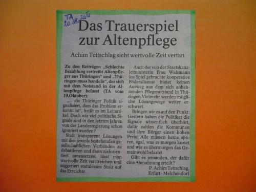 Pressebeitrag in Thüringer Allgemeine