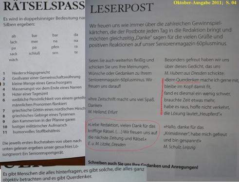 QUERDENKER-RÄTSEL - Leserbriefe