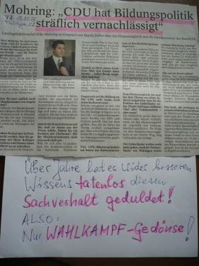 CDU WahlKampf nur Gedönse