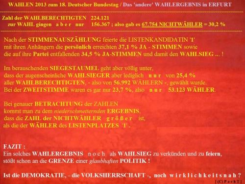 WahlKampfBeobachtung 2013 - 22 Truegerischer Wahlsieg