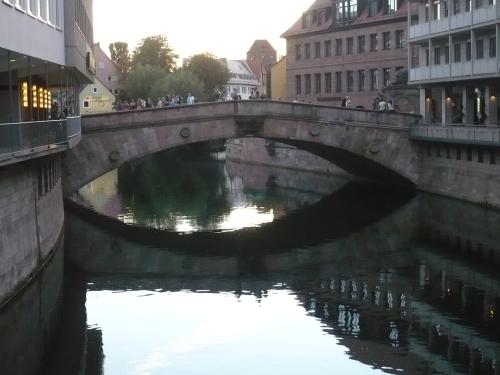 Nürnberg 027 Blick zur Fleischbrücke ü. Pegnitz