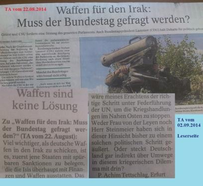 PachT in PresseTA_Leser-Seite 2014.09.02_Waffen stoppen