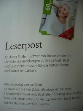 Magazin60+-_25.QUERdenkerRätsel 2 Leserpost