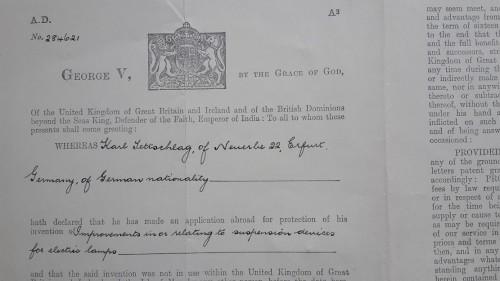 1887 - 1974 7 Entwicklungen meines Opa KATET_Strahler engl.Patent