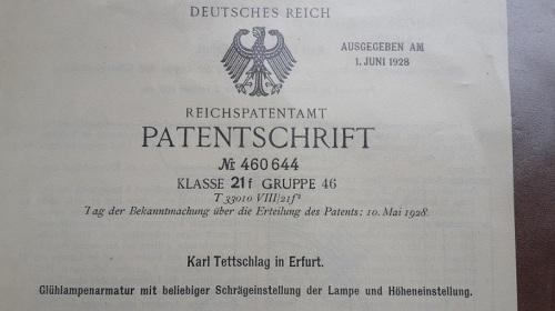 1887 - 1974 9 Entwicklungen meines Opa KATET_Strahler dtsch.Patent