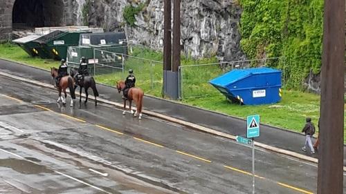 233_7.KreuzSchiffFahrt Berittene Polizei vorm Schiff