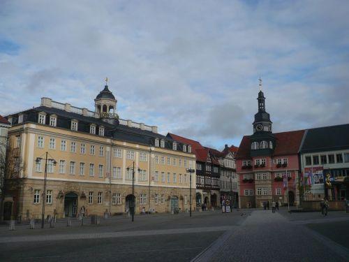 Eisenach  Marktplatz Schloß u. Rathaus