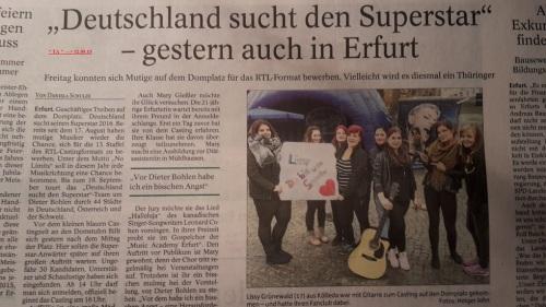 2015.09.11 D S D S - Casting in Erfurt 9 Lokalpresse