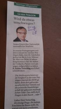 TA-Artikel zu Planenschlitzer 2 2015.04.16 Thür. Blog 07.12.15 Antwort