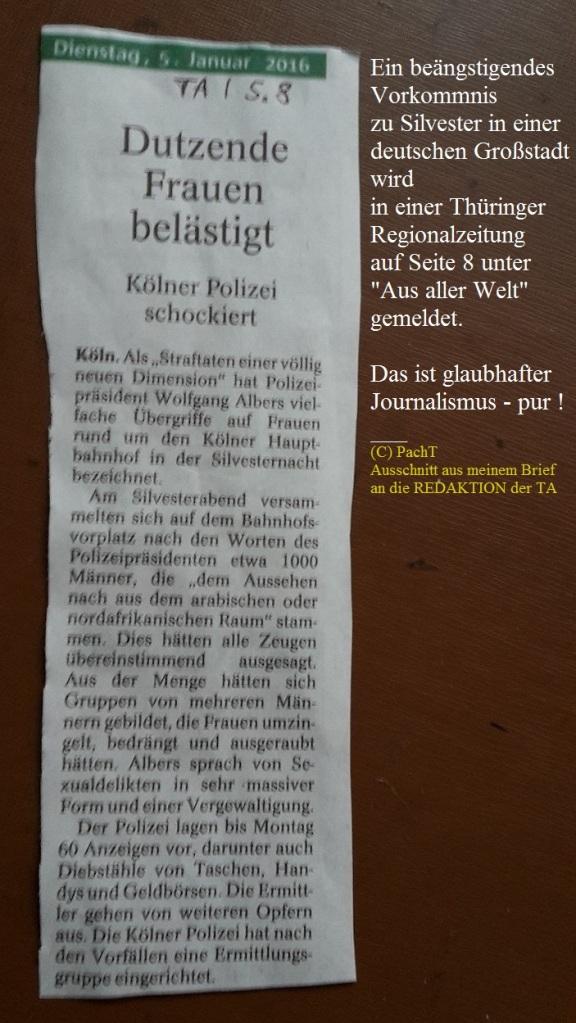 TA-Artikel zu ÜberGriffe in Köln 1 2016.01.05 Blog 2016.01.08