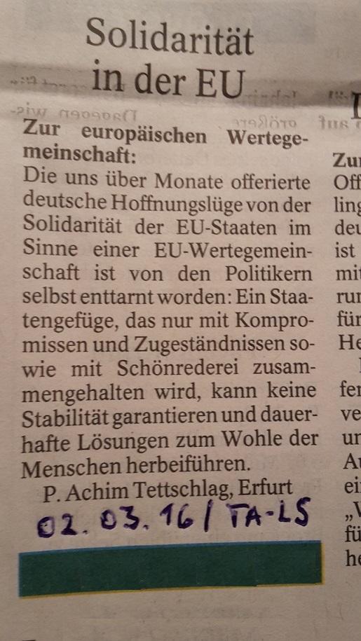 TA-Artikel zu EU u. Flüchtlinge 2 2016.02.23 Blog 03.03.16 SSW 487.