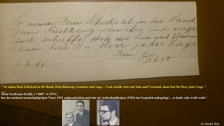 1887 - 1974 Erinnerung an meinen Opa Gewichtiger Gedanke