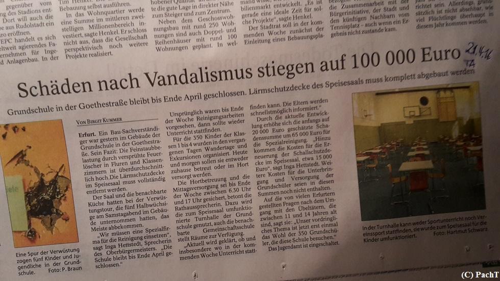Vandalismus an Schule in EF 04_2016