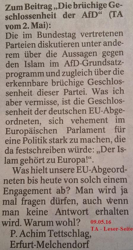 TA-Artikel zu AfD u. Islam 09 2.5.16 Blog 09.05.16 TA-LS