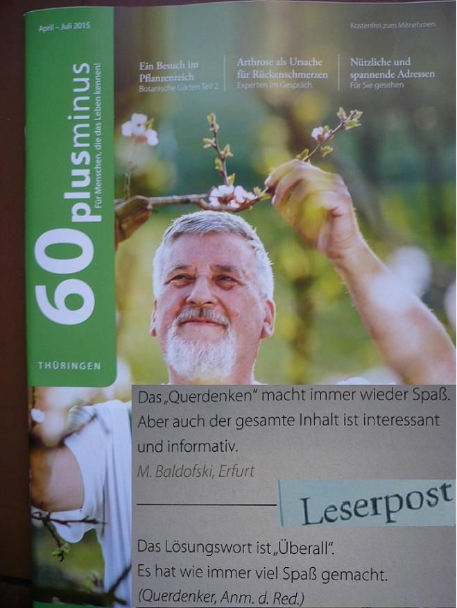 Magazin60+-_26.QUERdenkerRätsel 6 Leserpost