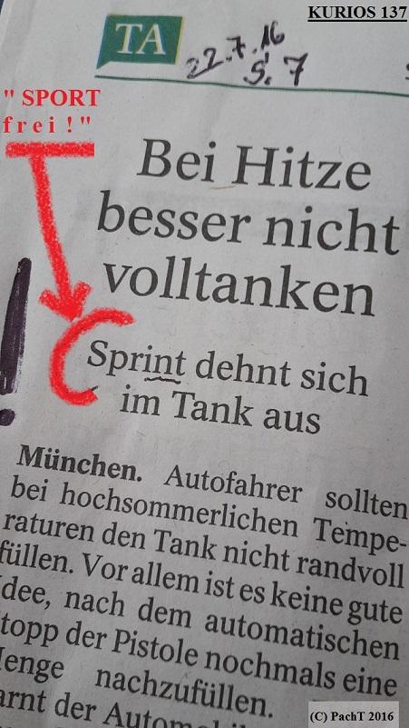 KURIOS 137 Sprint im Tank