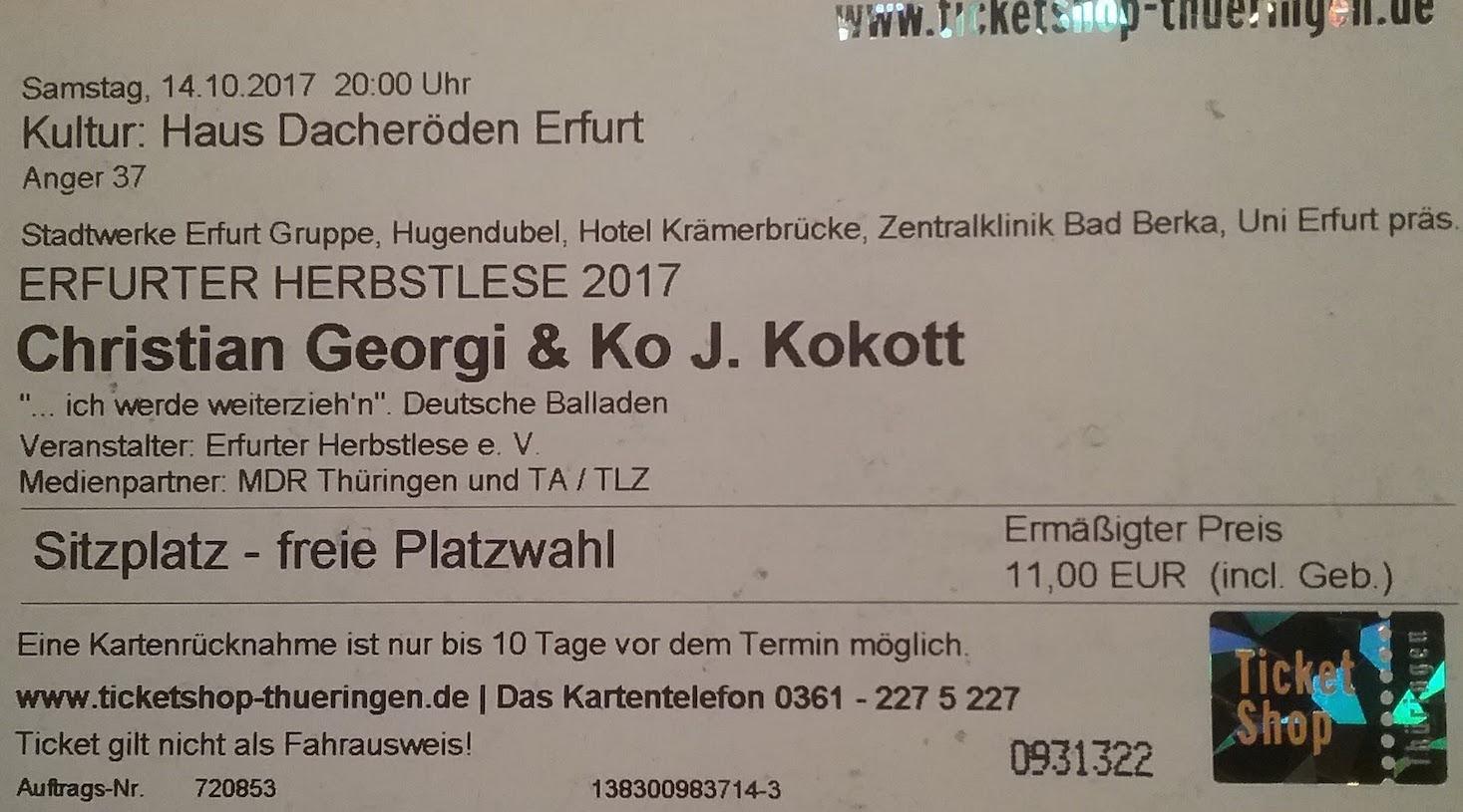 2017.10.14_002 EF HerbstLese Georgi u. Kokott Ticket