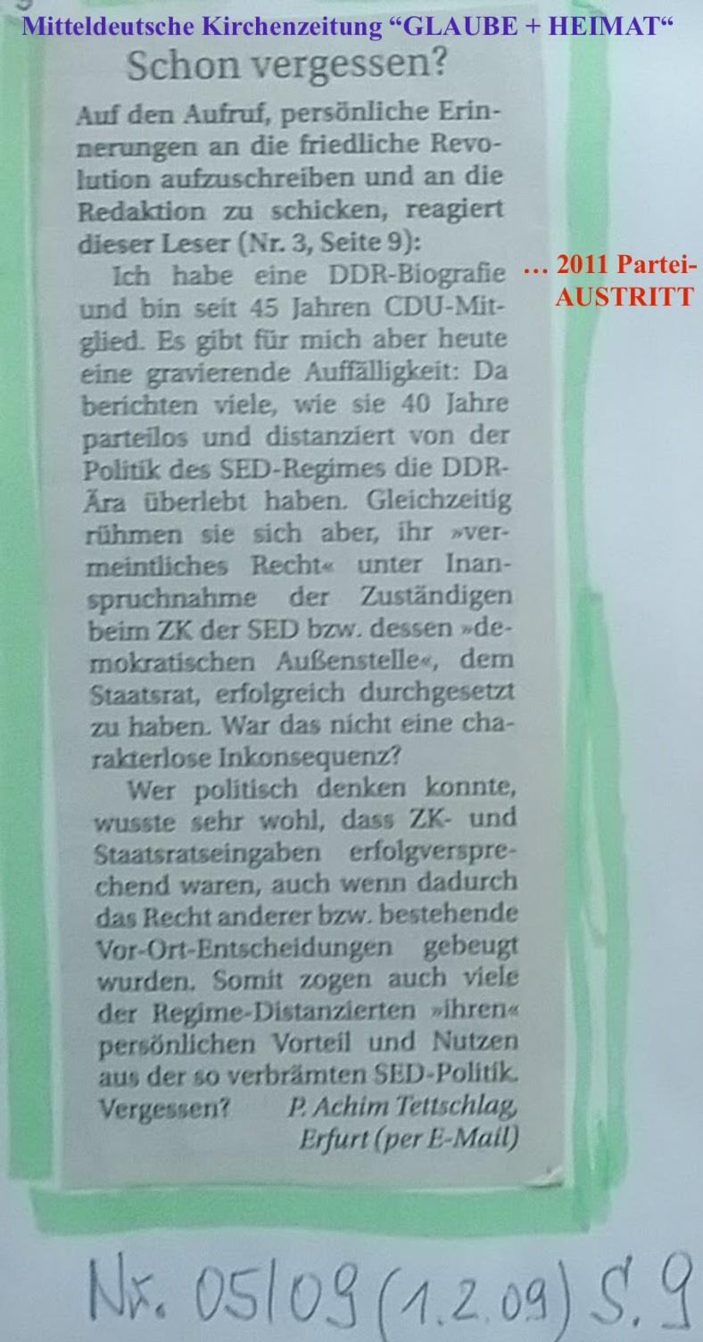G u H 2009.02.01 Vergessen der DDR-Vergangenheit