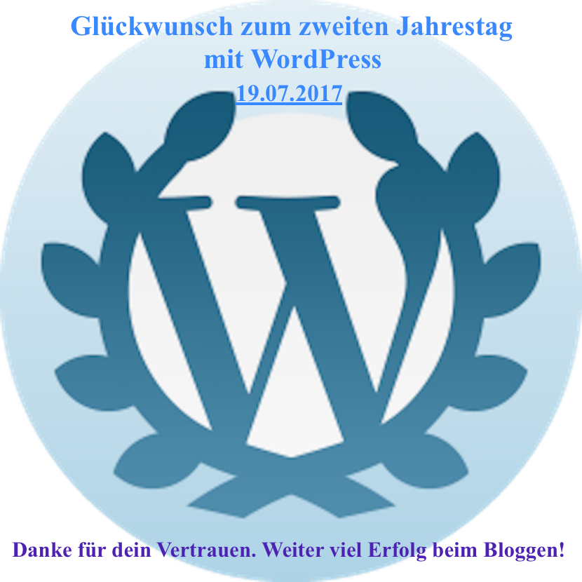 PachTs wordpress 20 Gratulation zu 2 Jahre bei WP 19.07.17