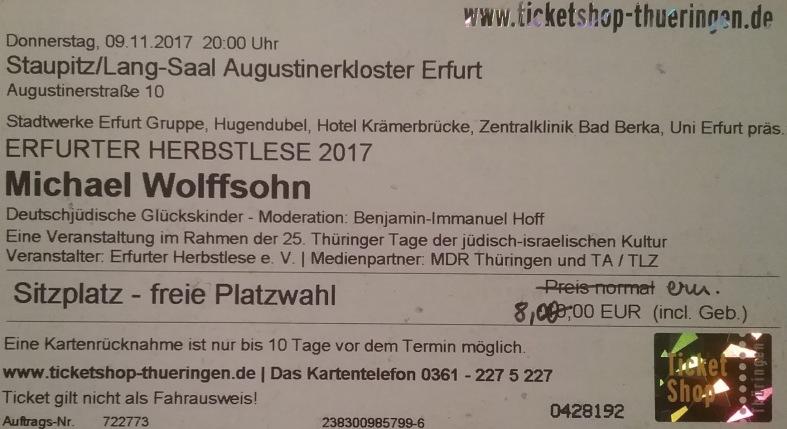 2017.11.09 001 Erfurter HerbstLESE M. Wolffsohn_Ticket
