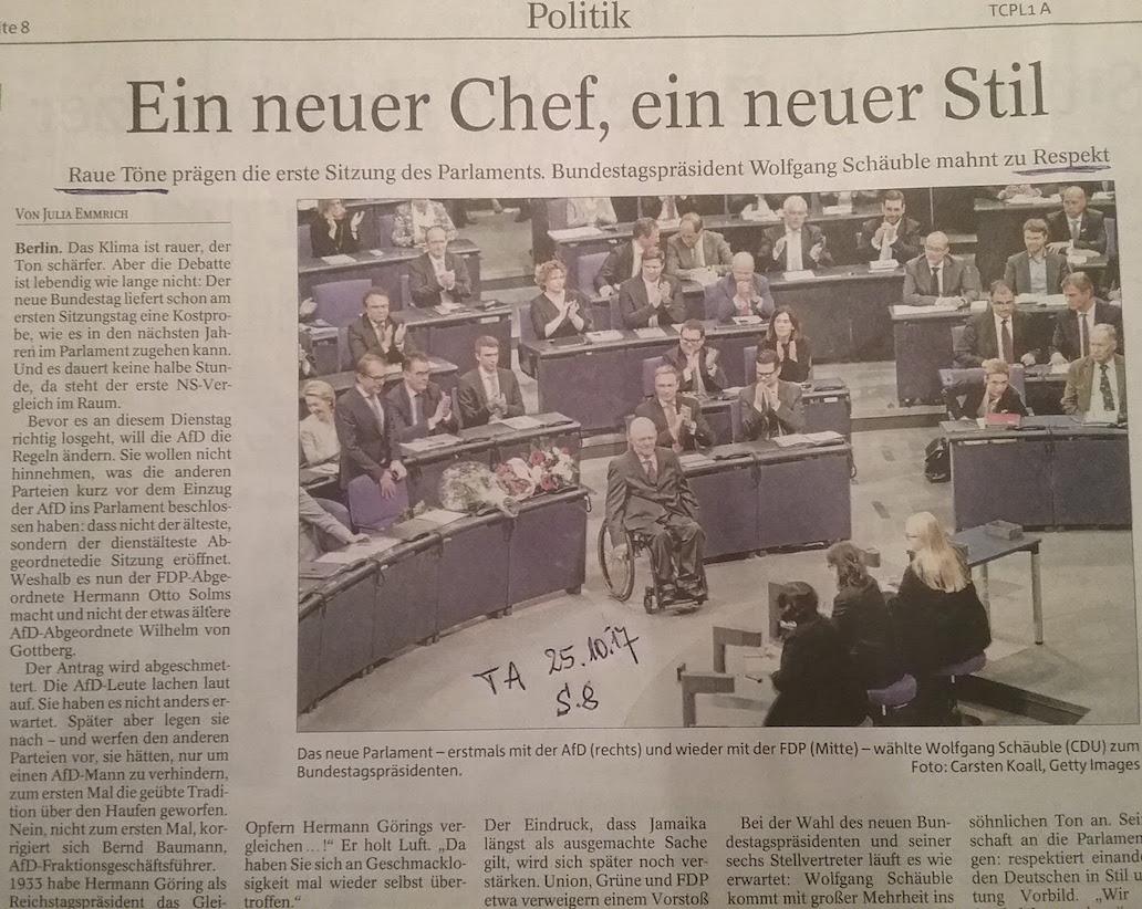 TA-Artikel über Konstituierung 19. Dtsch.Bundestag 2017.10.25 1 Blog 08.11.17