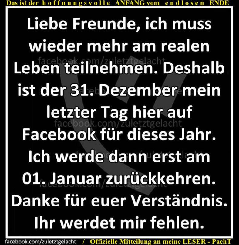 Facebook zw. Silvester u. Neujahr