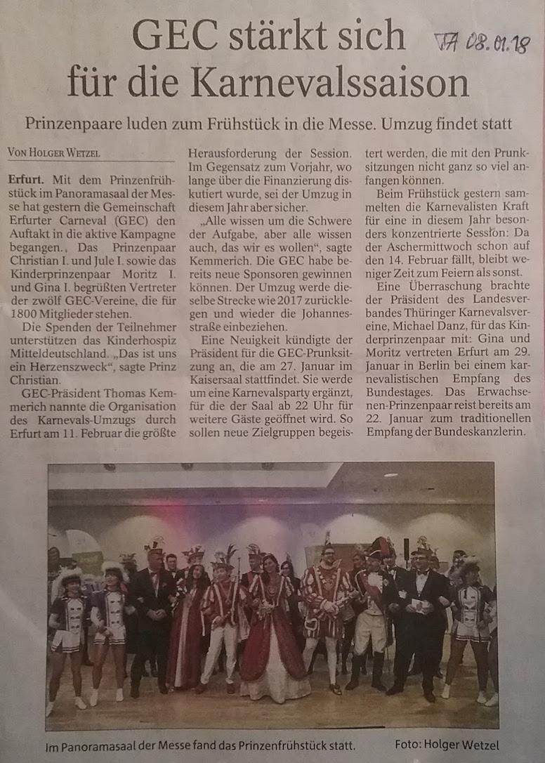 2018 GEC PrinzenFrühstück 24 Pressemeldung