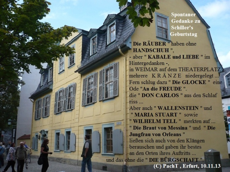 Gedanken zu Schillers Geburtstag 10.11.13