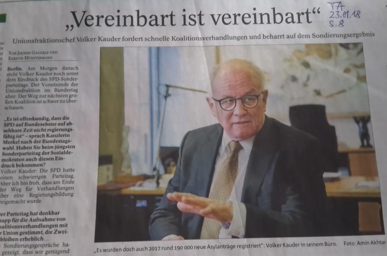 TA-Artikel zur CDU-Drohung an SPD 2018.01.23 1 Blog 29.01.18