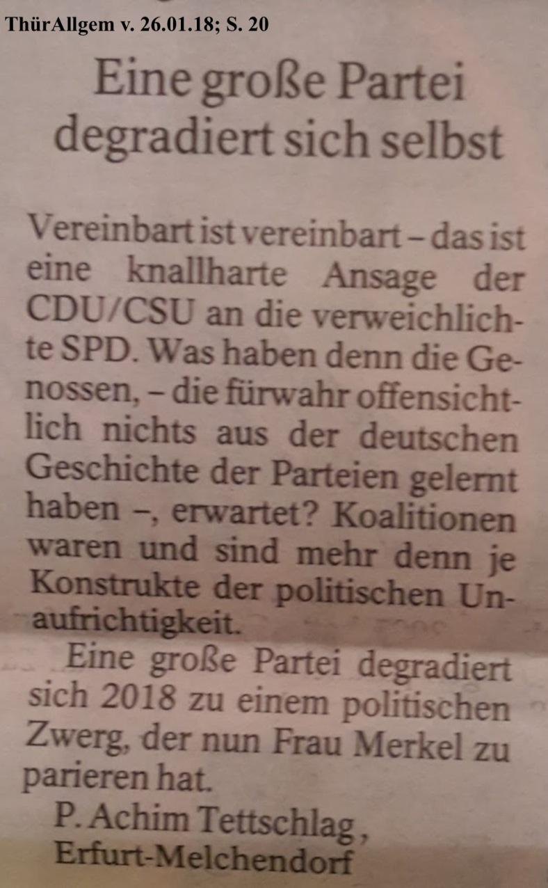 TA-Artikel zur CDU-Drohung an SPD 2018.01.23 2 Blog 29.01.18