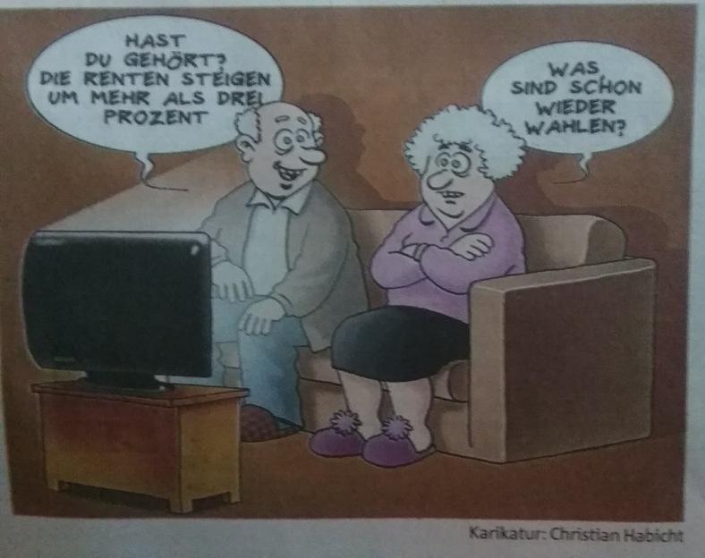 Karikatur Rente, weil Wahlen