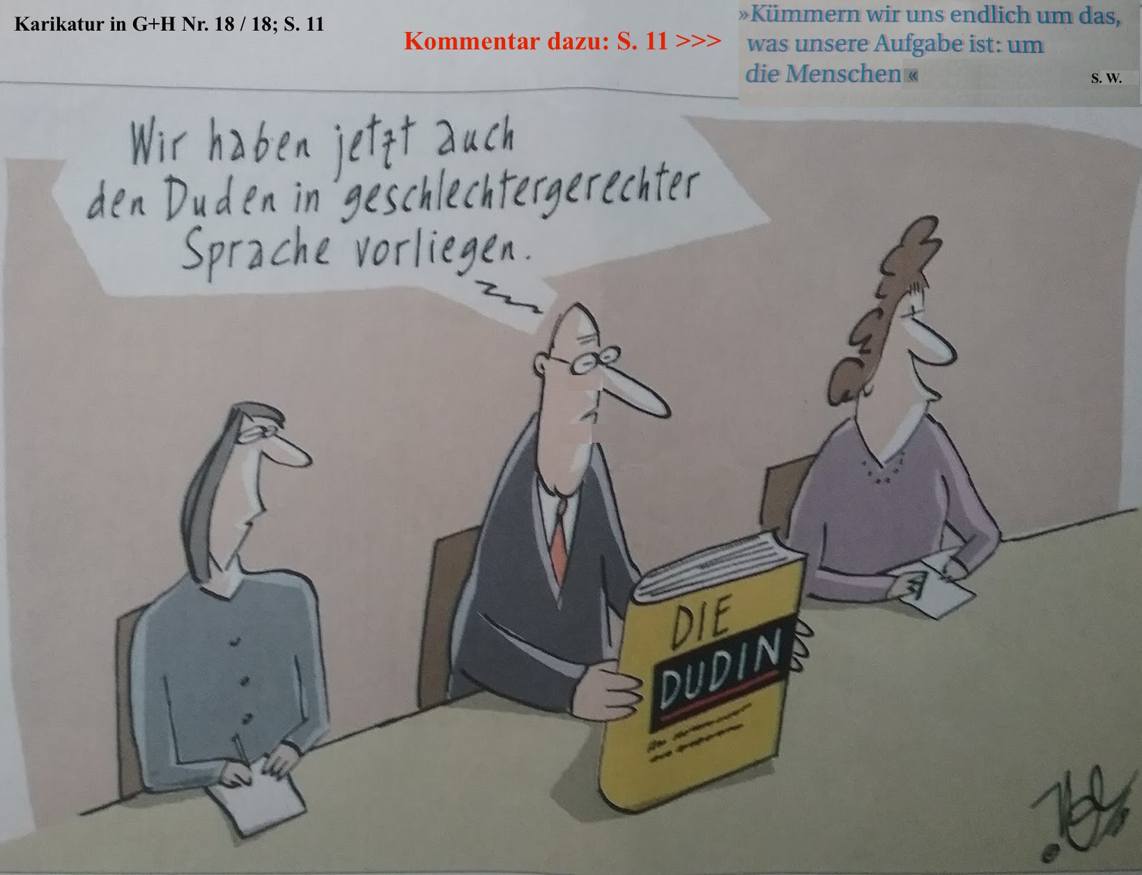 Karikatur Sprachliche Geschlechtergerechtigkeit
