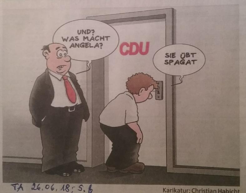 Karikatur Politischer SPAGAT