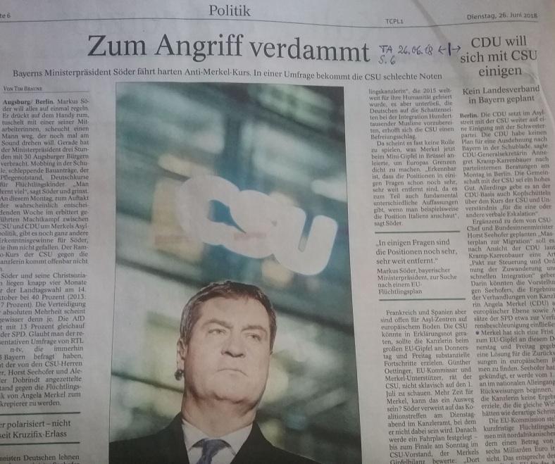 TA-Artikel über CDU-CSU-Streit Flüchtlingspolitik 2018.06.26 1 Blog 27.06.18