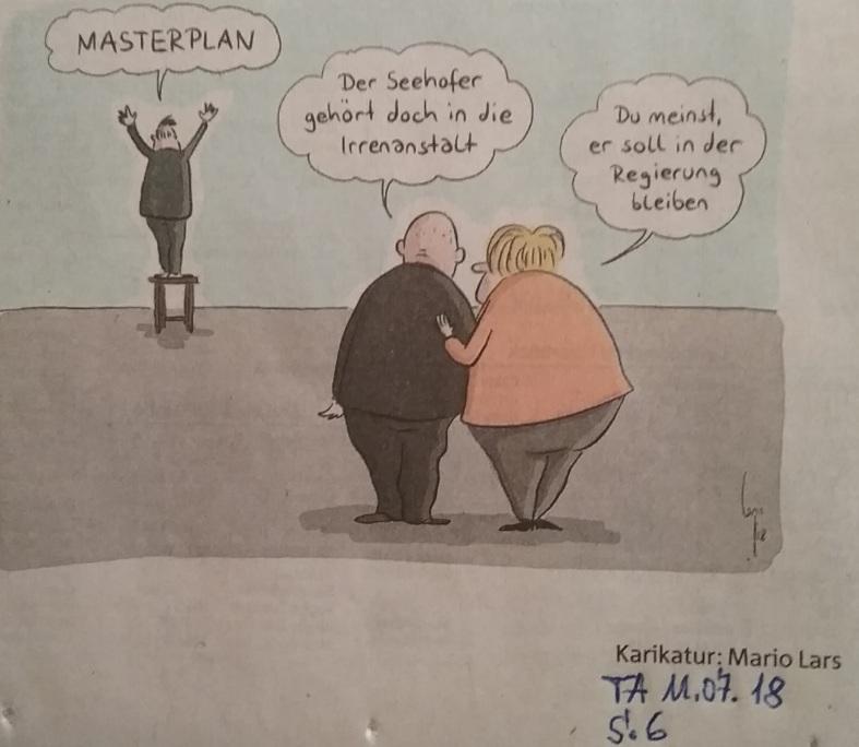 Karikatur Regierung ist Irrenanstalt