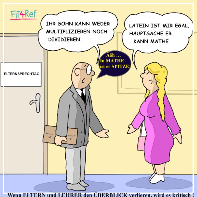 Karikatur VERHÄLTNIS zwischen ELTERNHAUS u. SCHULE