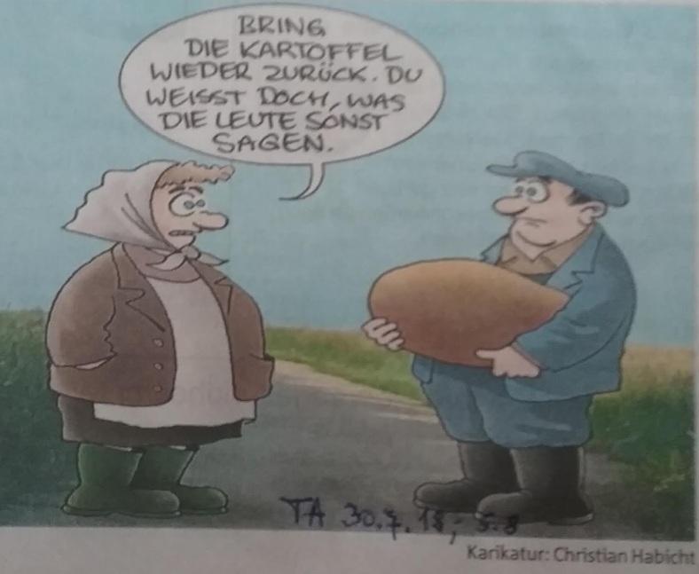 Karikatur Kartoffelernte