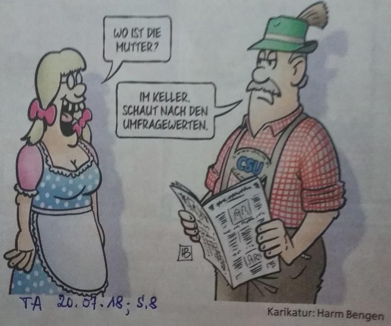 Karikatur UmFrageWerte im Keller