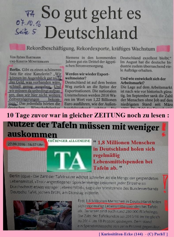 KURIOS 144 ZeitungsMeldungen im Widerspruch