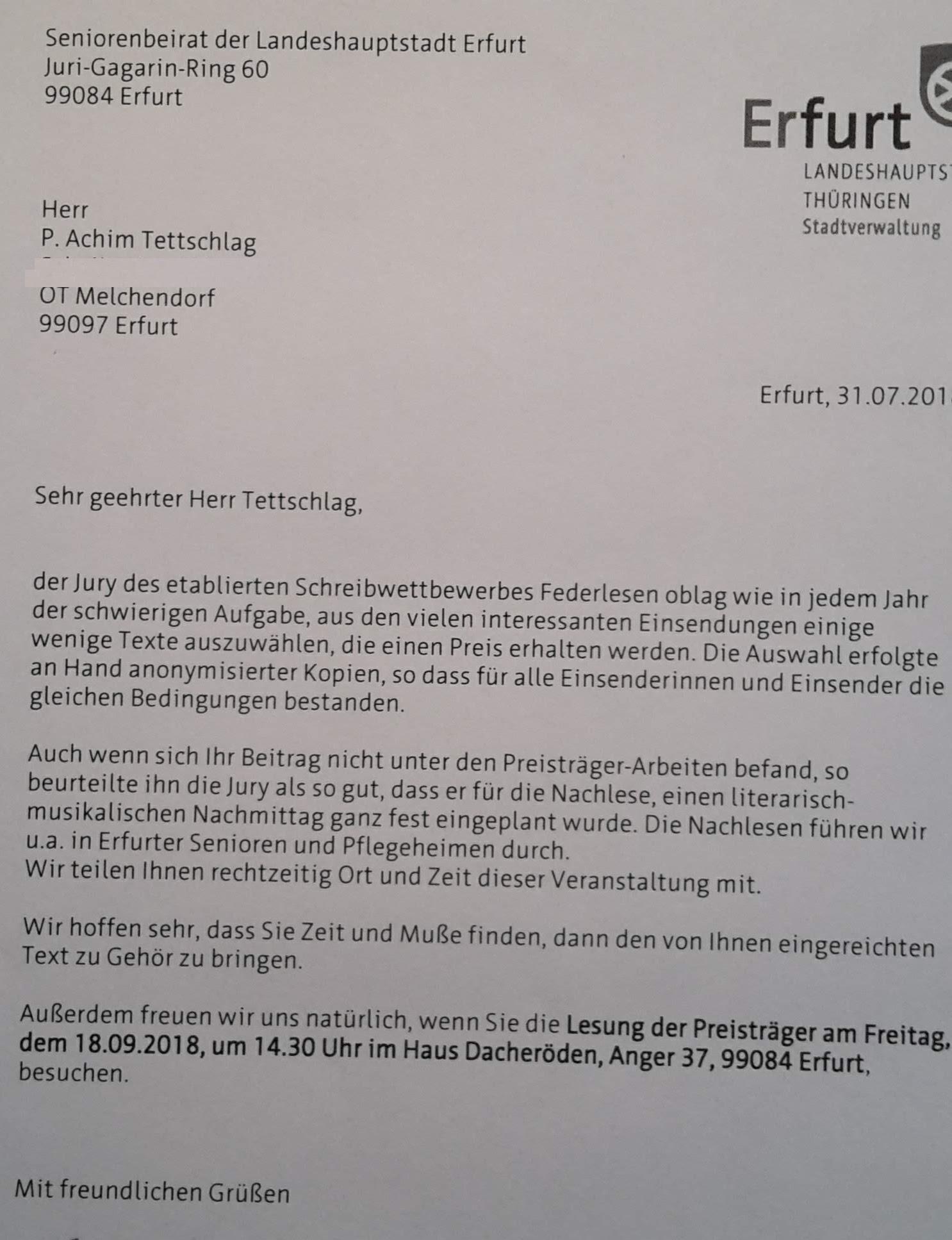 Schreiben zu FederLesen 2018 _ Nachlese