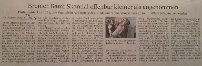 TA-Artikel über Bamf-Skandal in Bremen 2018.08.27 1 Blog 29.08.18