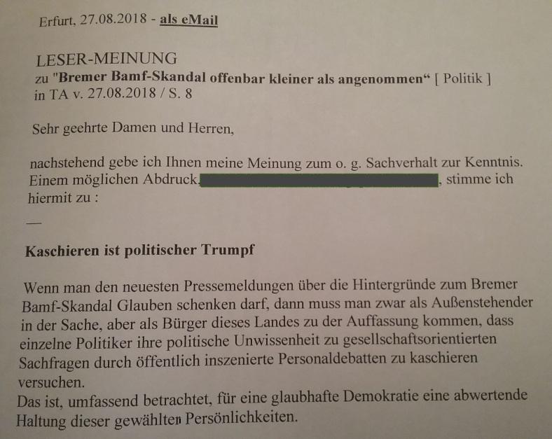 TA-Artikel über Bamf-Skandal in Bremen 2018.08.27 2 Blog 29.08.18