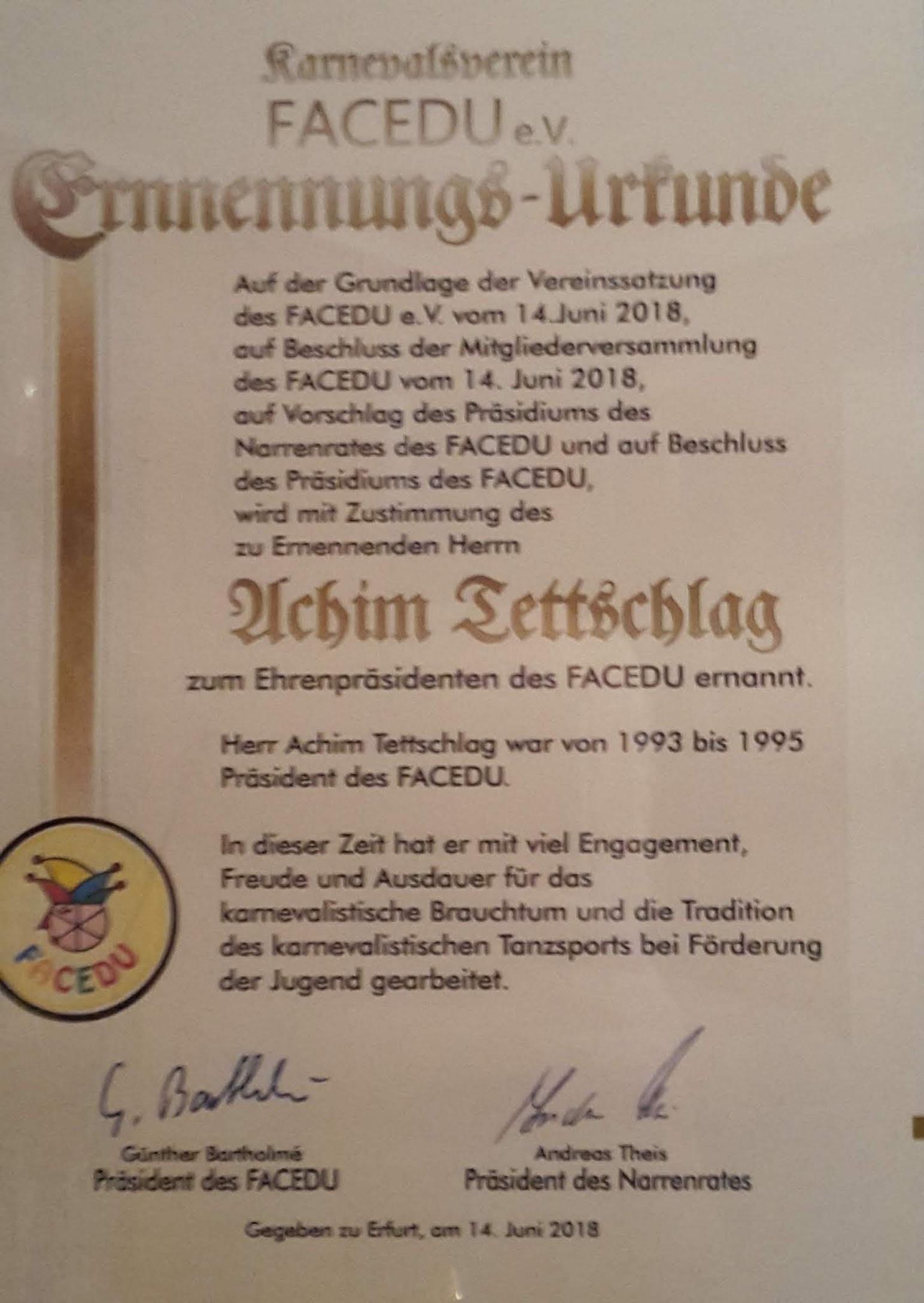 Karneval_FaCeDu - EhrenpräsidentenUrkunde 2018