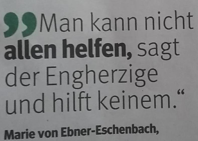 Zitat Engherzig