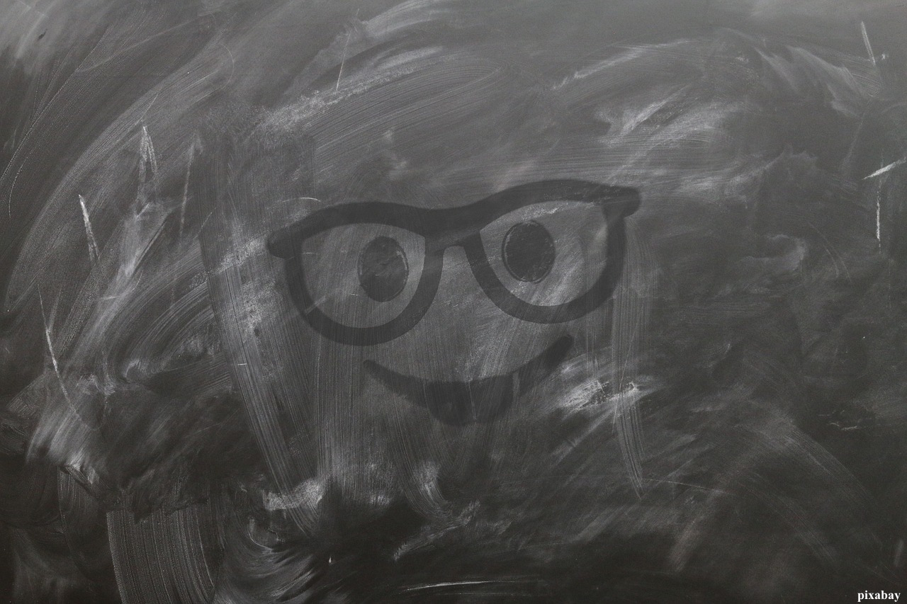 Augen mit Brille und Lächeln
