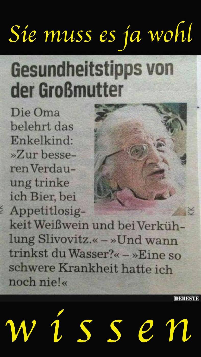 Gesundheitstipp von Oma an Enkel