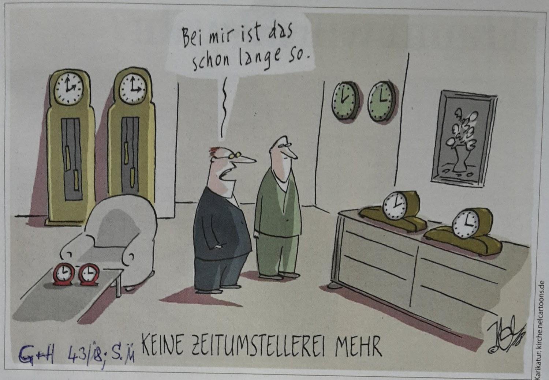 Karikatur Zeitumstellung nie mehr