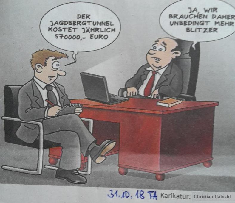 Karikatur Geld-BLITZER